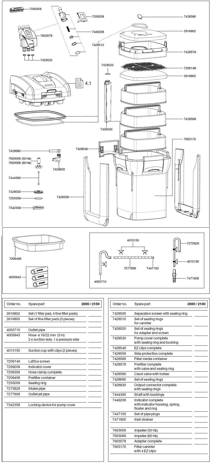 EHEIM 2080-2180 SPARE PARTS