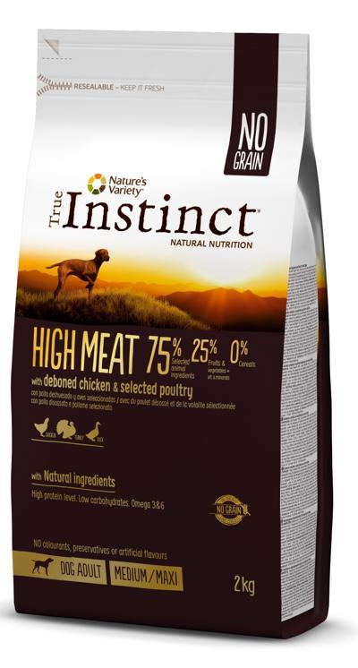 TRUE INSTINCT HIGH MEAT MEDIUM/MAX ADULTO FRANGO