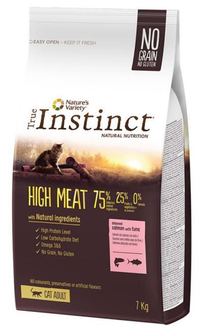 TRUE INSTINCT HIGH MEAT MEDIUM/MAX ADULTO SALMAO