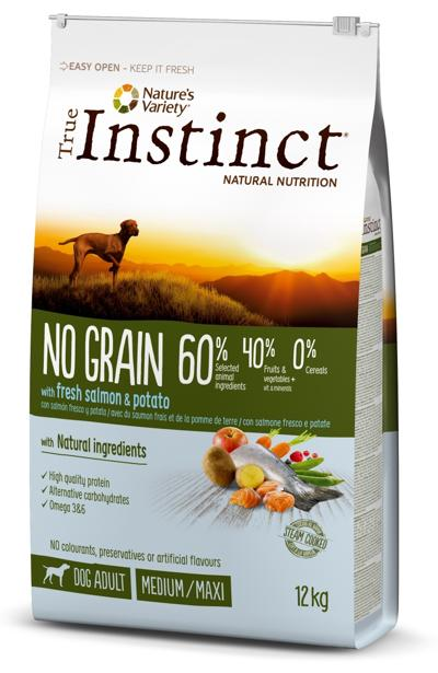 TRUE INSTINCT NO GRAIN MEDIUM/MAX ADULTO SALMAO